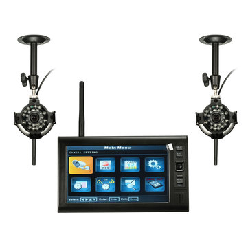 7inch LDC Monitor DVR with 2 Wireless CCTV Camera Motion Detect Home Security System