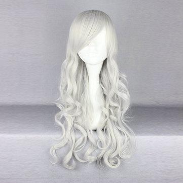 Harajuku Silver Side Bang Wavy Synthetic Fiber High Temperature Cosplay Wig Anime Costume Hair