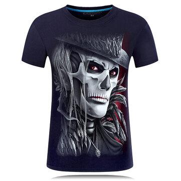 प्लस आकार एस -4 एक्सएल 3 डी खोपड़ी प्रिंटिंग लघु टीज़ व्यक्तित्व दौर गर्दन लघु आस्तीन टी शर्ट