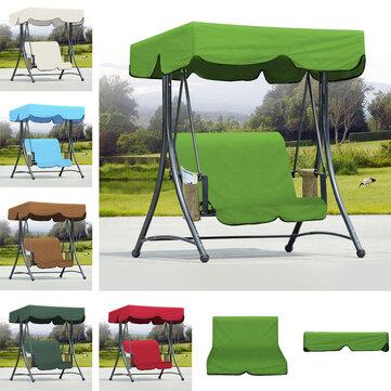 Jardín al aire libre Banco de hamaca Hamaca Canopy Impermeable Cubierta superior Sombrilla + Cubierta de silla de 2 plazas