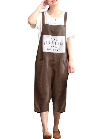 Loose Casual Women Letters Printed Cotton Overalls