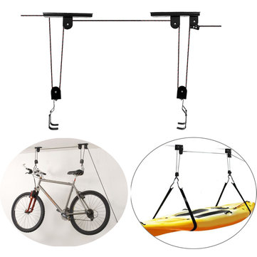 New Bicycle Bike Lift Ceiling Mounted Hoist Storage Garage Hanger Durable Rack