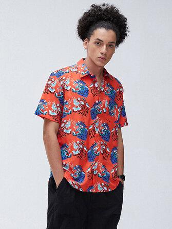 Mens Fashion Animal Funny Printing Turn Down Collar Casual Shirts