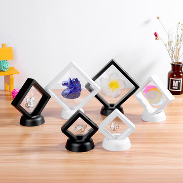 3D Floating Frame Holder Stand Box Clear Jewelry Ring Coin Display Supplies Uk