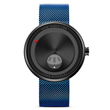 SINOBI 9743 Creative Watch Stainless Steel Strap Rotate Dial Unisex Wrist Watch