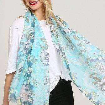Laides Vogue Verano estampado de graffiti de algodón bufanda al aire libre Plus talla de mantón para Mujer