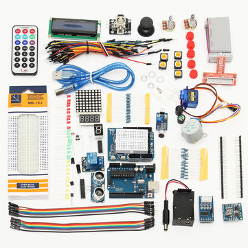 UNO R3 Starter Kits 1602 LCD Servo Ultrasonic Motor LED Relay RTC for Arduino - products that work with official Arduino boards