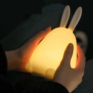 Rabbit LED Night Light Silicone Pat Control Multicolor for Children Baby Nursery Breathing Moon Lamp