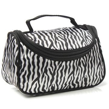 Women Makeup Cosmetic Zebra Toiletry Bag Organizer Handbag Travel Case