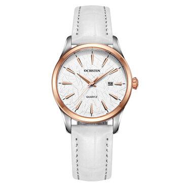OCHSTIN LQ022-Aカジュアルスタイルの女性の腕時計防水レザーバンドクォーツムーブメントウォッチ