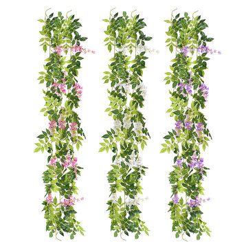 Wisteria Garland Artificial Flowers Bunch Wedding Home Hanging Ivy Decorations 2m