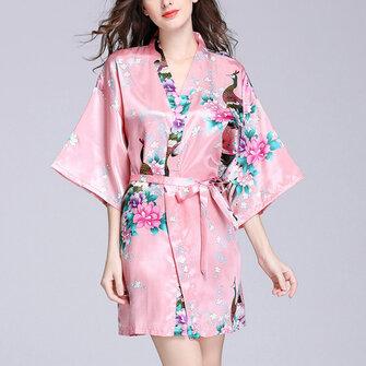 Silk Peacock Middle Sleeve Pajamas Waist Straps Sexy Bathrobes Women Sleepwear