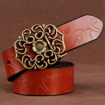 110 सेमी महिला 100% द्वितीय परत बेल्ट गाय असली चमड़े के फूल का पट्टा रेट्रो कमल पत्ता बकल बेल्ट