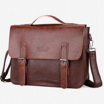 Menn Vintage PU Leather Messenger Bag Laptop Veske Veske 14 Tommer
