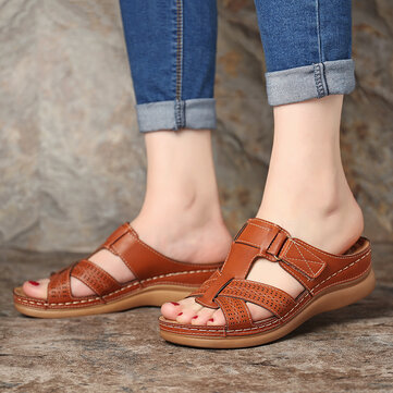 LOSTISY Phụ nữ Comfy Hollow Out Hook Loop Wedges Sandals