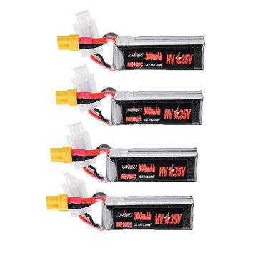 4Pcs URUAV 7.6V 300mAh 80C/160C 2S HV 4.35V Lipo Battery XT30 Plug for BETAFPV Whoop Quadcopter
