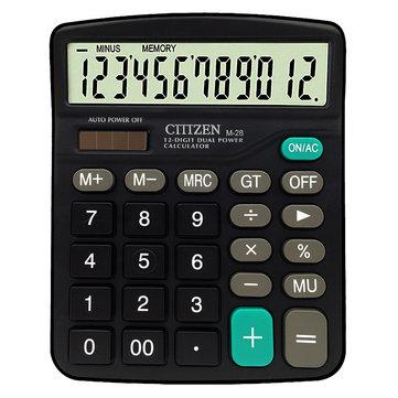 CTTTZEN 12 Digits Calculator Solar Battery Light Powered Dual Power Drive Office School Equipment