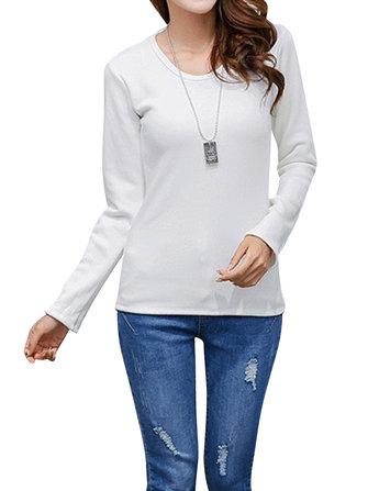 आरामदायक शुद्ध रंग लंबी आस्तीन मोटी मखमली ओ-गर्दन महिला टी शर्ट