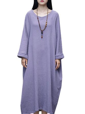 कैजुअल ब्रीफ प्योर कलर लूज़ रोबे महिला ओ-नेक लंबी आस्तीन वाली मैक्सी ड्रेस