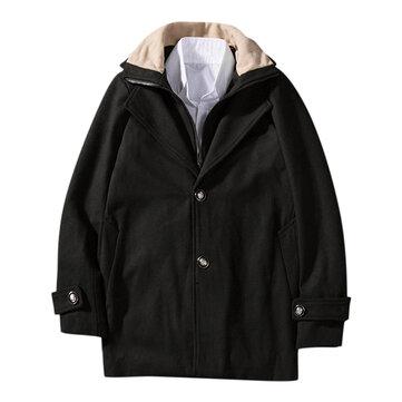 Mens Casual Woollen Contrast Color Collar Double Placket Coats