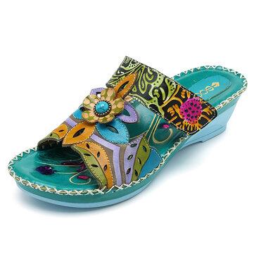 SOCOFY Bohemian Handmade Leather Shoe Flower Soft Sandals
