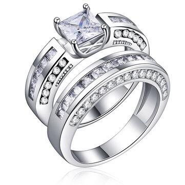 2 Pcs/set Classic Cubic Zirconia Womens Ring Bridal Wedding Platinum Band Finger Rings for Women