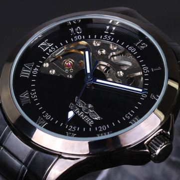 4805 Military Style Men Wrist Watch Stainless Steel Strap Self-Wind Mechanical Watch