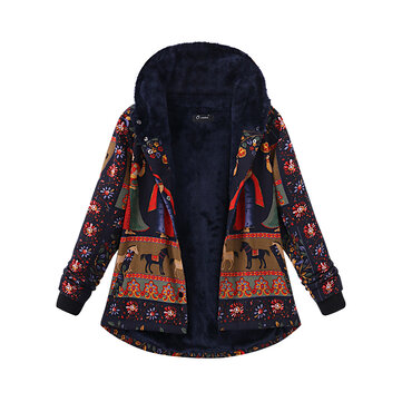 Plus Size Thick Warm Coats Casual Women Printing Hooded Coat