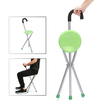 Remarkable Camping Folding Tripod Cane Walking Stick Seat Portable Stool Chair Max Load Bearing 130Kg Pabps2019 Chair Design Images Pabps2019Com