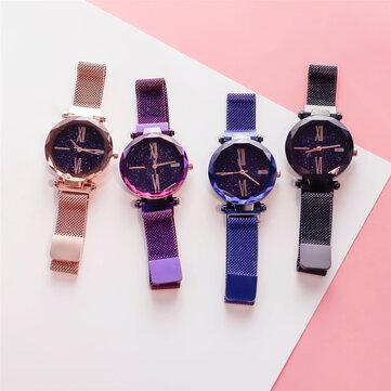 Deffrun Magnetic Attraction Clasp Women Wrist Watch Shining Dial Face Casual Style Quartz Watch