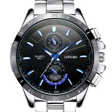 LONGBO 8833 גברים שעונים זוהר נירוסטה אופנה מקרית שעון קוורץ שעון