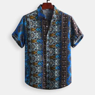 Mens Vintage Etnisk Stil Tryckt Casual Mode Skjortor