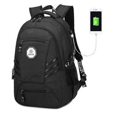 Мужчины ПВХ Водонепроницаемы 18 дюймов Рюкзак для ноутбука с USB-портом для зарядки