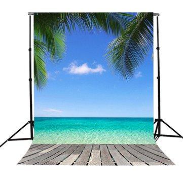 5x7Ft Hawaii Seaside Beach Sky Tree Scenery Photography Background Backdrop Studio Prop