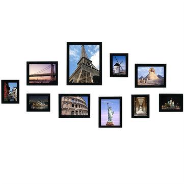10Pcs Family Picture Multi Photo Frame Set Sostiene 10 Fotos Apertura Montado En La Pared