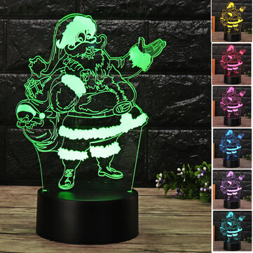 Christmas 3D Santa Claus LED Night Touch Color Changing Illusion USB Light Lamp