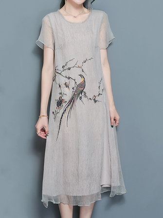 Zarif Kadın Kısa Kollu Bird Nakış Gevşek İpek Elbiseleri