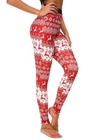 Women Slim Elastic Waist Elk Christmas Printed Leggings