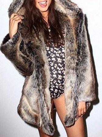 Women Casual Faux Fur Animals Ear Hooded Street Style Long Warm Coats