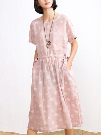 Buy Casual Polka Dot Print Pockets Drawstring Waist Short Sleeve Dress for Women with 2 on Gipsybee.com