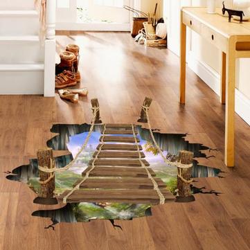 Puente de madera 3D Sala de estar Dormitorio Animales Piso Inicio Fondo Pared Decoración Pegatinas creativas