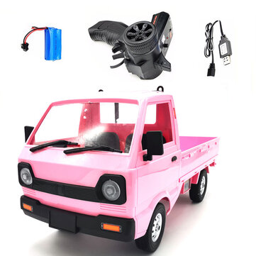 WPL D12 1/10 2.4G 2WD Military Truck Crawler Off Road RC Car Vehicle Models Toy Pink