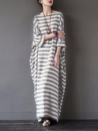 आरामदायक महिलाएं 3/4 आस्तीन धारीदार ओ-गर्दन Baggy कपास मैक्सी पोशाक