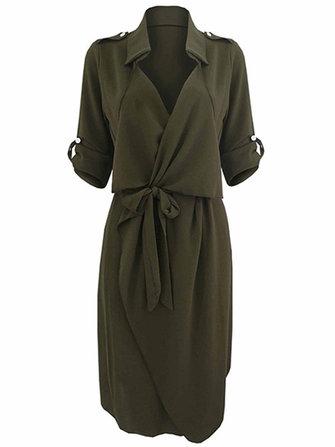 बो बेल्ट काम आरामदायक सोलिड रंग लैपल महिला शर्ट ड्रेस