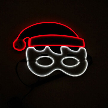 Christmas EL Glowing Mask Birthday Party Holiday Dance Party LED Cold Light Flashing Mask Party Cheer Props