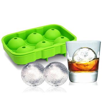 KCASA KC-IT02 6 Holes forma de bola grande Silicona Ice Cube Sphere Whisky cóctel bandeja de molde de hielo