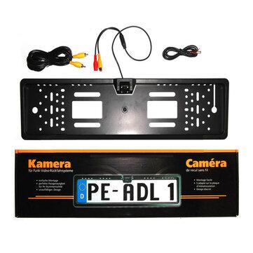 170° 4LED Car License Plate Frame Rear View Backup Camera Auto Reverse European
