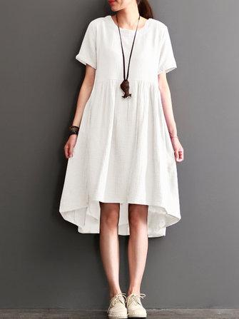 S-5XL Kadın Kısa Kollu Casual Gevşek Düzensiz Hem Orta-uzun Elbise