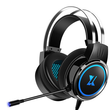 Heir Audio X8 Gaming Headset 7.1Channerl 50mm Unit RGB Colorful Light 4D Surround Sound Ergonomic Design 360° Omnidirectional Noise Reduction Microphone