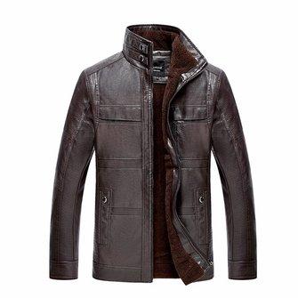 पुरुषों पु चमड़ा जैकेट स्टैंड कॉलर मखमली मोटा गर्म शीतकालीन कोट आउटवेअर आकार एक्सएस -3XL
